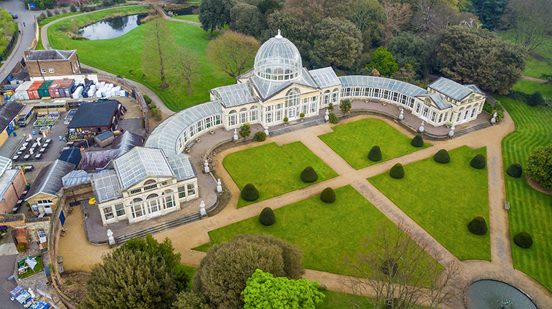 Aerial Film Samples. Grand Conservatory, Syon Park
